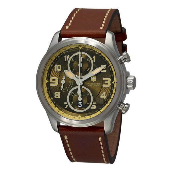 Swiss Army Men's 241448 'Chrono Classic' Green Dial Brown Leather Strap Watch 12678288
