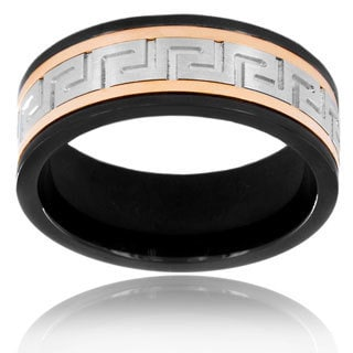 Black and Rose Plated Stainless Steel Maze Spinner Ring