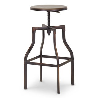 Baxton Studio Architect's Industrial Bar Stool with Antiqued Copper Finish