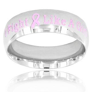 "Stainless Steel ""I Fight Like A Girl"" Pink Breast Cancer Awareness Ribbon Ring"