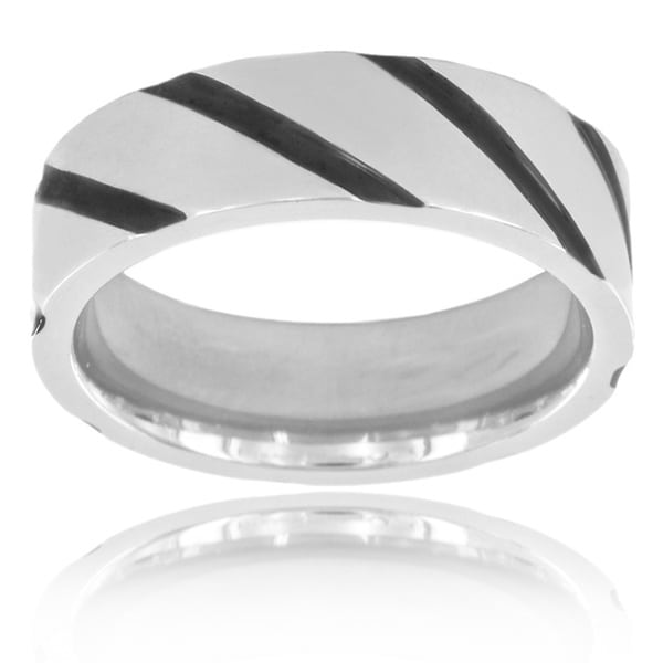 Black Plated Titanium Diagonal Striped Band Ring (6 mm)