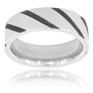 Titanium Black Plated Diagonal Striped Band Ring (6 mm)
