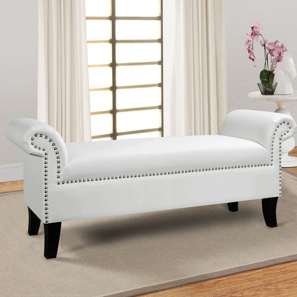Jennifer Taylor White Gothic Roll Arm Bench