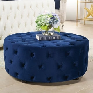Aviary Beige Linen Button-tufted Round Cocktail Ottoman
