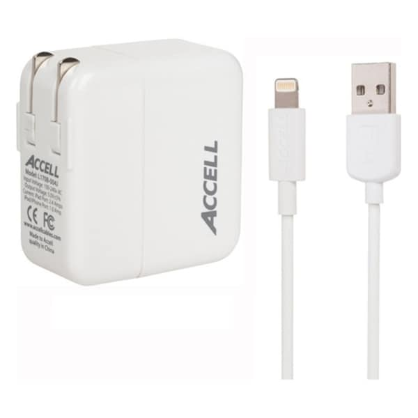 Accell AC Power Adapter, 3.4A Dual USB with Lightning Cable
