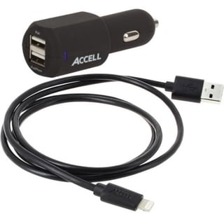Accell Dual USB 3.4A Car Charger with Lightning Cable