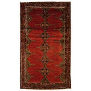 Antique 1970's Persian Hand-knotted Wiss Hamadan Red/ Brown Wool Rug (4'10 x 8'5)