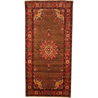 Antique 1960's Persian Hand-knotted Nahavand Hamadan Brown/ Red Wool Rug (4'8 x 9'8)