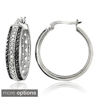 DB Designs Silvertone 1/4ct TDW Diamond Striped Hoop Earrings (I-J, I2-I3)