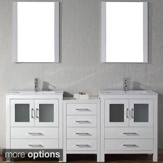 Virtu USA Dior 74 inch Double Sink Vanity Set in White