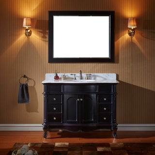 Virtu USA Norhaven 48 inch Single Sink Espresso Vanity with Italian Carrara White Marble Countertop with Backsplash