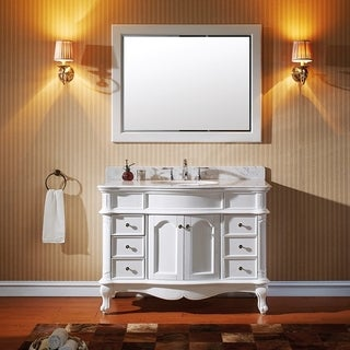 Virtu USA Norhaven 48 inch Single Sink White Vanity with Italian Carrara White Marble Countertop with Backsplash