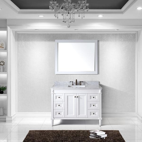 Virtu Usa Tiffany Eight Inch Single Sink White Vanity With