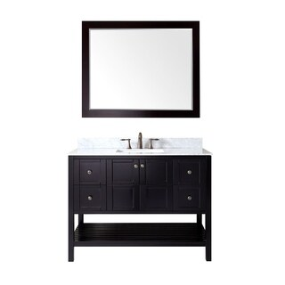 Virtu USA Winterfell 48 inch Single Sink Espresso Vanity with Carrara White Marble Countertop with Backsplash