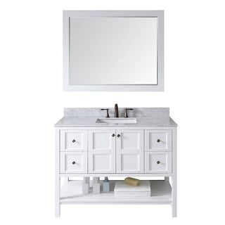 Virtu USA Winterfell 48 inch Single Sink White Vanity with Carrara White Marble Countertop with Backsplash