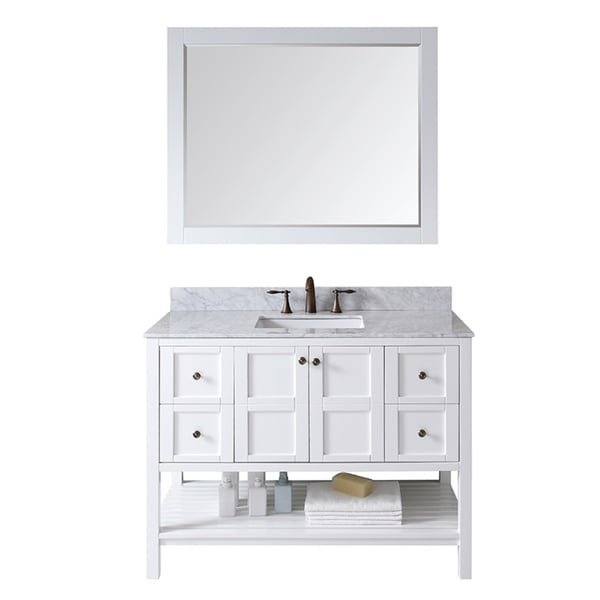 Virtu USA Tiffany 48 inch Single Sink White Vanity with Carrara White