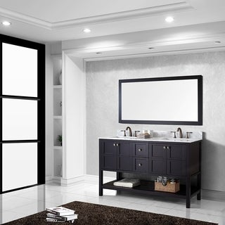 Virtu USA Winterfell 60 inch Double Sink Espresso Vanity with Carrara White Marble Countertop with Backsplash