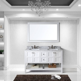 Virtu USA Winterfell 60 inch Double Sink White Vanity with Carrara White Marble Countertop with Backsplash