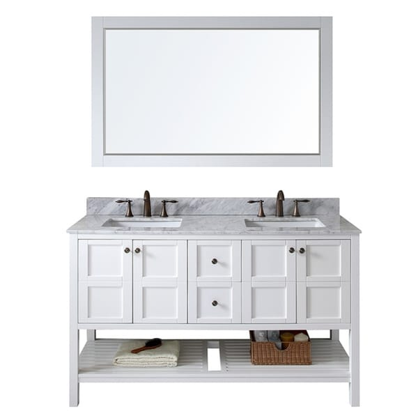 virtu usa winterfell 60 inch double sink white vanity with carrara