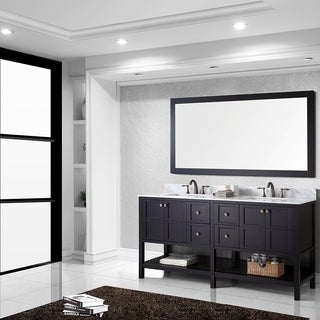 Virtu USA Winterfell 72 inch Double Sink Espresso Vanity with Carrara White Marble Countertop with B