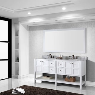 Virtu USA Winterfell 72 inch Double Sink White Vanity with Carrara White Marble Countertop with Backsplash