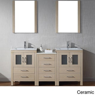 Virtu usa dior 66 inch double sink vanity set in light oak overstock shopping great deals for 66 inch bathroom vanity cabinets