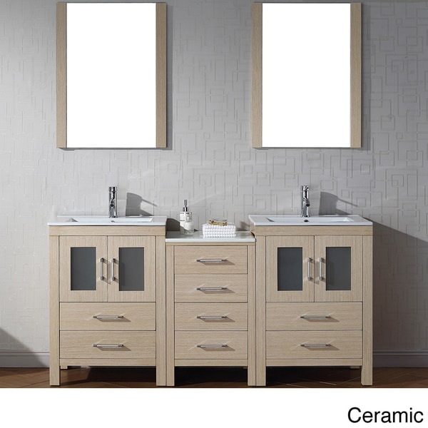 Virtu USA Dior 66 Inch Double Sink Vanity Set In Light Oak 16129148 Overs