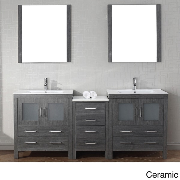 Virtu usa dior 78 inch double sink vanity set in zebra grey 16129101 overstock shopping for 78 double sink bathroom vanity
