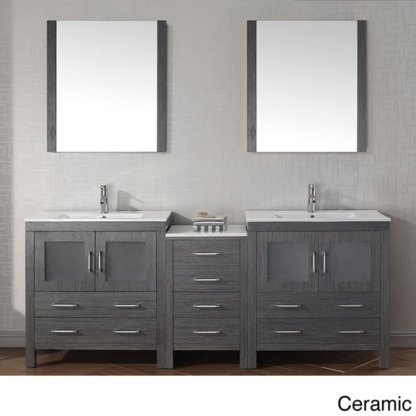virtu usa dior 82 inch double sink vanity set in zebra grey 16129105 overstock shopping