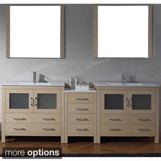 Virtu USA Dior 90 inch Double Sink Vanity Set in Light Oak