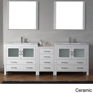 Virtu Usa Dior 90 Inch Double Sink Vanity Set In White Overstock Shopping Great Deals On