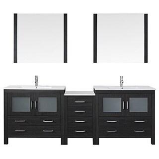 Virtu USA Dior 90 inch Double Sink Vanity Set in Zebra Grey