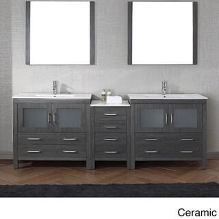 Virtu Usa Dior 90 Inch Double Sink Vanity Set In Zebra Grey Overstock Shopping Great Deals