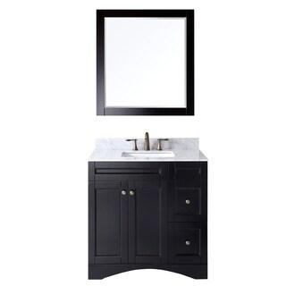 Virtu USA Elise 36 inch Single Sink Espresso Vanity with Carrara White Marble Countertop with Backsplash