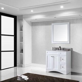 Virtu USA Elise 36 inch Single Sink White Vanity with Carrara White Marble Countertop with Backsplash