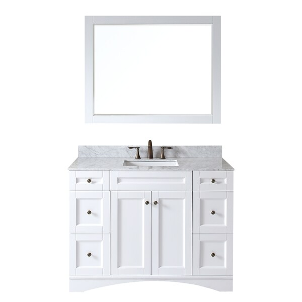 virtu usa elise 48 inch single sink white vanity with carrara white