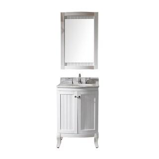 Virtu USA Khaleesi 24 inch Single Sink White Vanity with Carrara White Marble Countertop with Backsplash