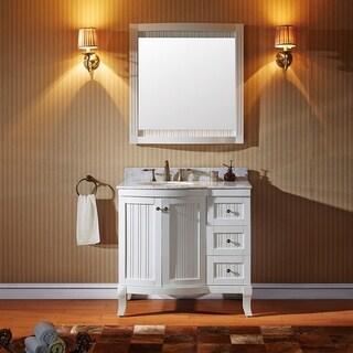 Virtu USA Khaleesi 36 inch Single Sink White Vanity with Carrara White Marble Countertop with Backsplash