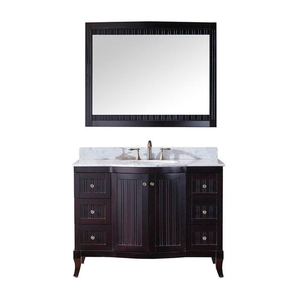 Http Www Overstock Com Home Garden Virtu Usa Khaleesi 48 Inch Single Sink Espresso Vanity With Carrara White Marble Countertop With Backsplash 8910924 Product Html