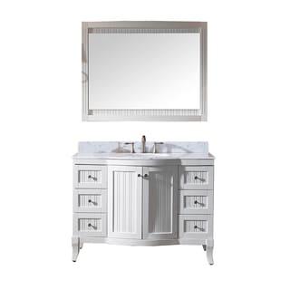 Virtu USA Khaleesi 48 inch Single Sink White Vanity with Carrara White Marble Countertop with Backsplash