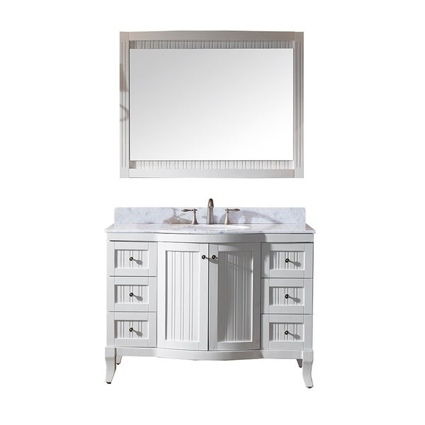 virtu usa khaleesi 48 inch single sink white vanity with carrara white