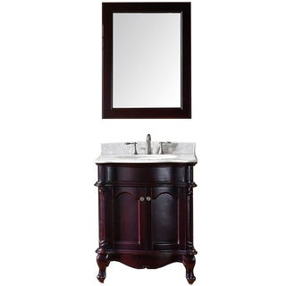 Virtu USA Norhaven 30 inch Single Sink Espresso Vanity with Italian Carrara White Marble Countertop with Backsplash