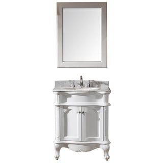 Virtu USA Norhaven 30 inch Single Sink White Vanity with Italian Carrara White Marble Countertop with Backsplash