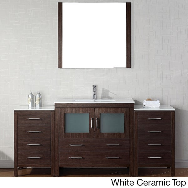 Virtu usa dior 72 inch single sink vanity set in espresso - 72 inch single sink bathroom vanity ...