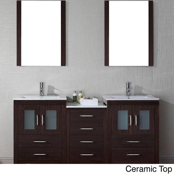 Com shopping great deals on design element bathroom vanities - Virtu Usa Dior 66 Inch Double Sink Vanity Set In Zebra Grey