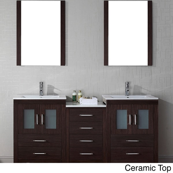 Virtu usa dior 66 inch double sink vanity set in espresso for 66 inch bathroom vanity cabinets