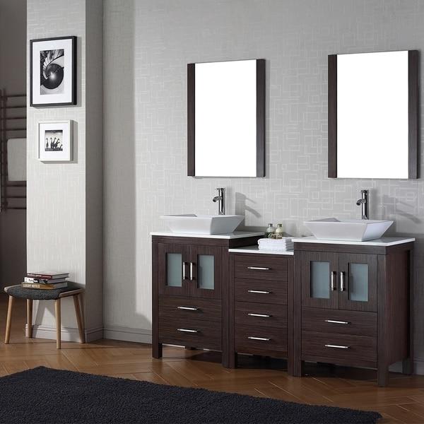 Virtu USA Dior 66 Inch Double Sink Vanity Set In Espresso 16129147 Overst