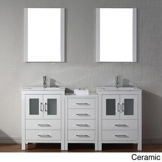 Virtu USA Dior 66 Inch Double Sink Vanity Set In White Overstock Shopping