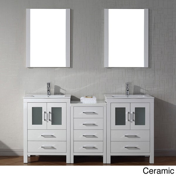 Virtu usa dior 66 inch double sink vanity set in white 16129149 overstock shopping great for 66 inch bathroom vanity cabinets