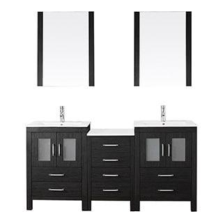 Virtu USA Dior 66 inch Double Sink Vanity Set in Zebra Grey